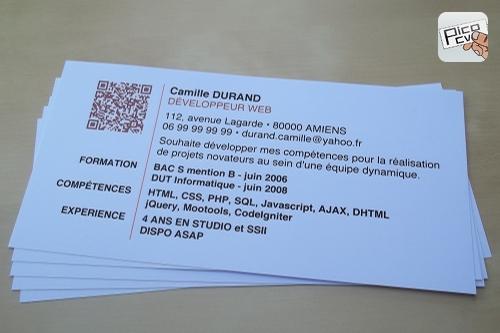 Un Exemple De Mini Cv Avec Qr Code