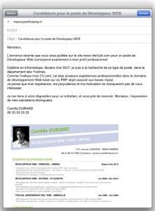 Un bon exemple d'email avec cv et lettre de motivation