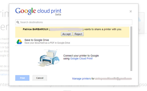 Partager une imprimante google cloud print : accepter invitation
