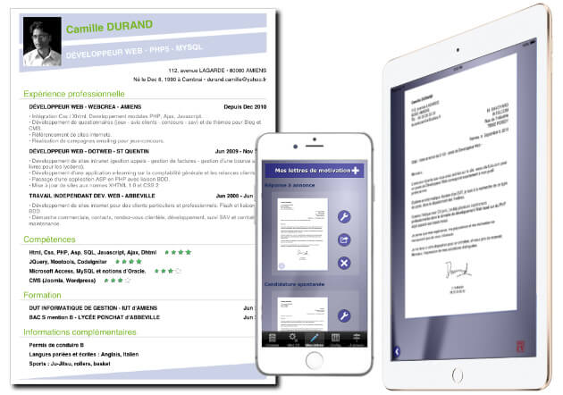 comment faire son cv sur iphone  ipad et android