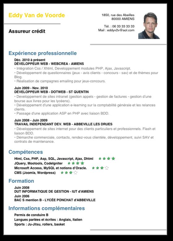 web emploi info exemple cv