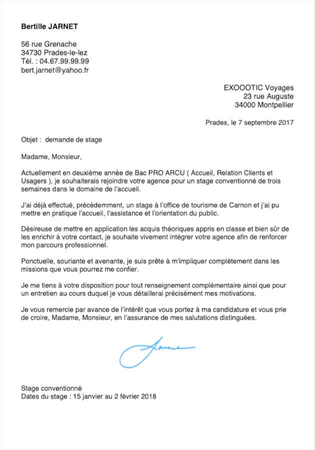 Lettre de motivation Bac  3 Commerce