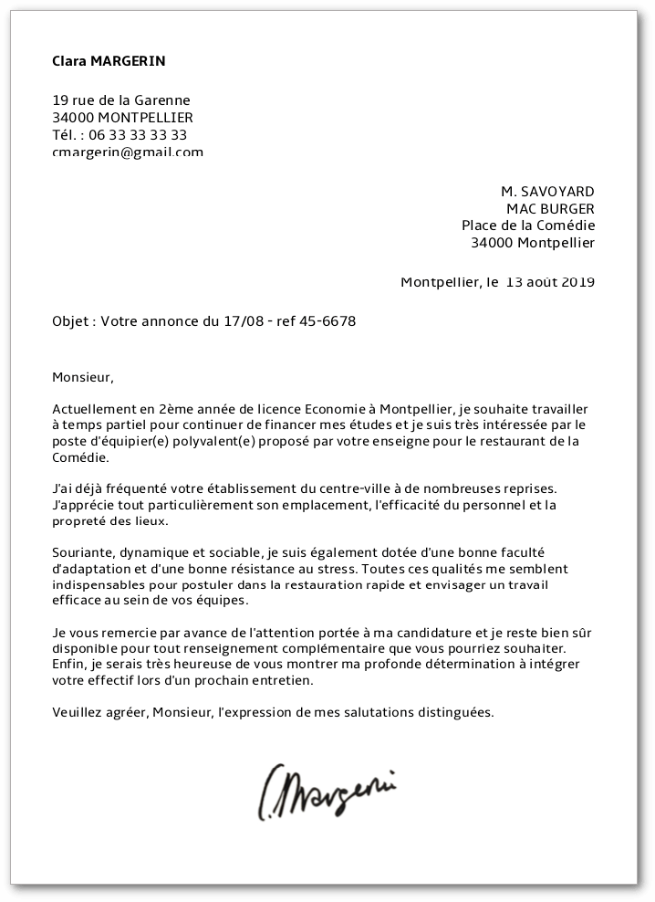 job  u00e9tudiant   lettre de motivation et cv