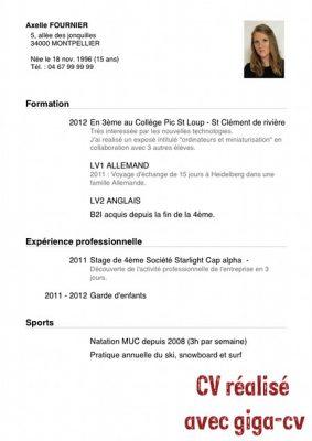 Exemple de CV collège pour la recherche d'un stage