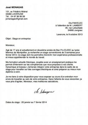 Un exemple de lettre de motivation lycée bac pro stage