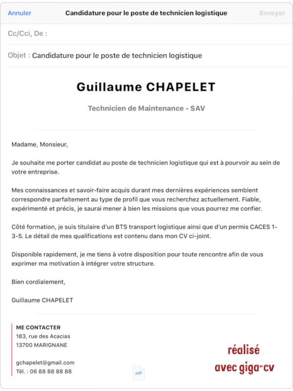 exemple de mail de motivation avec CV, envoi depuis l'appli giga-cv sur iPad avec une présentation améliorée