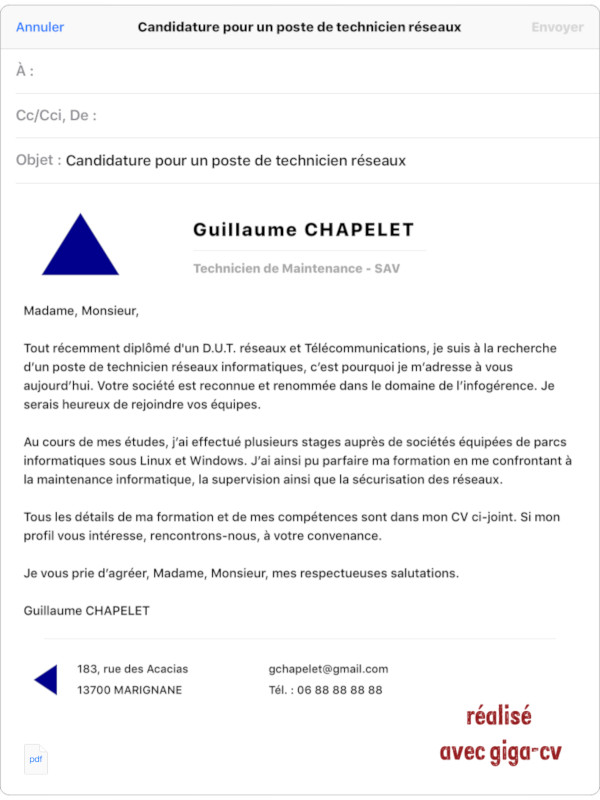 exemple de mail de candidature sur iPad avec une présentation améliorée issue de l'appli giga-cv